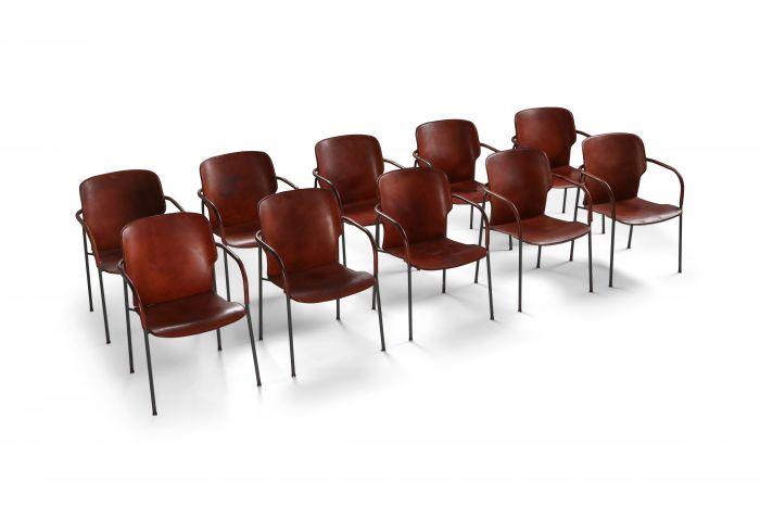 Gianfranco Frattini armchairs model 'Lalanda' in dark cognac leather - 1970s