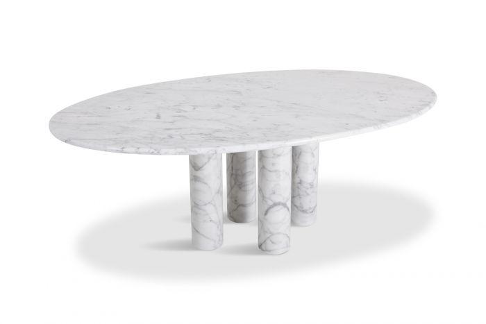 Mario Bellini Il Colonnata Oval Dining Table in Carrara Marble for Cassina - 1970s
