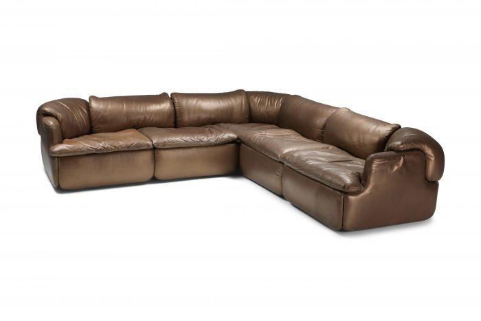 Bronze Leather Saporiti 'Confidential' sectional sofa