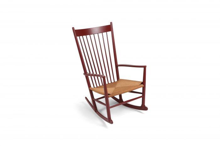 Hans Wegner J16 Rocking Chair in Burgundy - 1944
