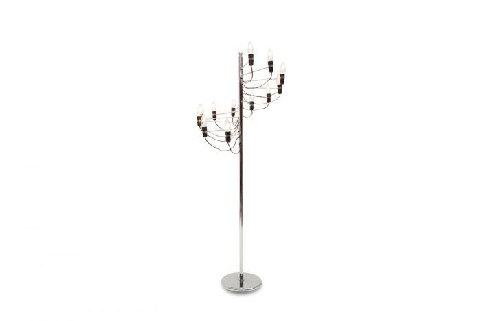 Chromed Spiralling Floor Lamp, Gino Sarfatti - 1980s