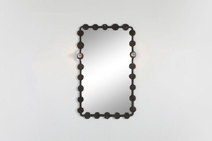 Brutalist Mirror with Lights Atelier Français - 1970's