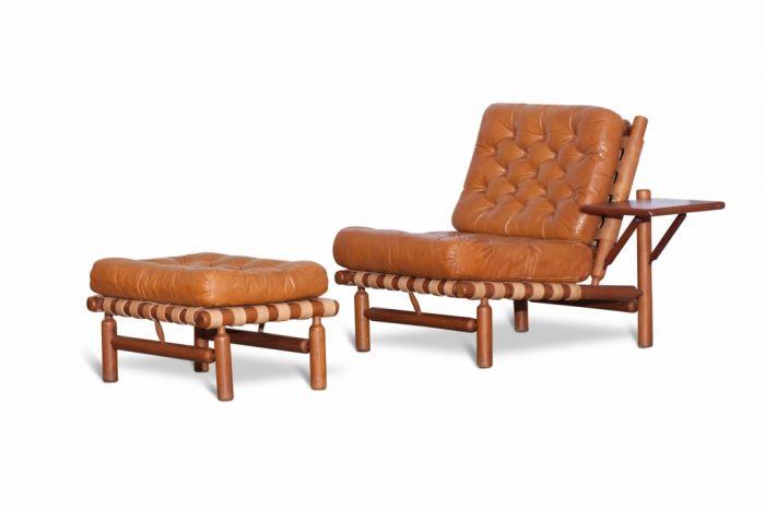 Cognac Leather And Wood Lounge Chair And Ottoman, Ilmari Tapiovaara - 1958