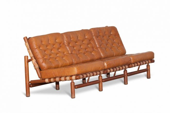 Cognac Leather And Wood Lounge 3 Seater Sofa, Ilmari Tapiovaara - 1958