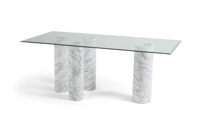 Carrara 'Collonato' Table with Glass Top in the Style of Mario Bellini - 1990s