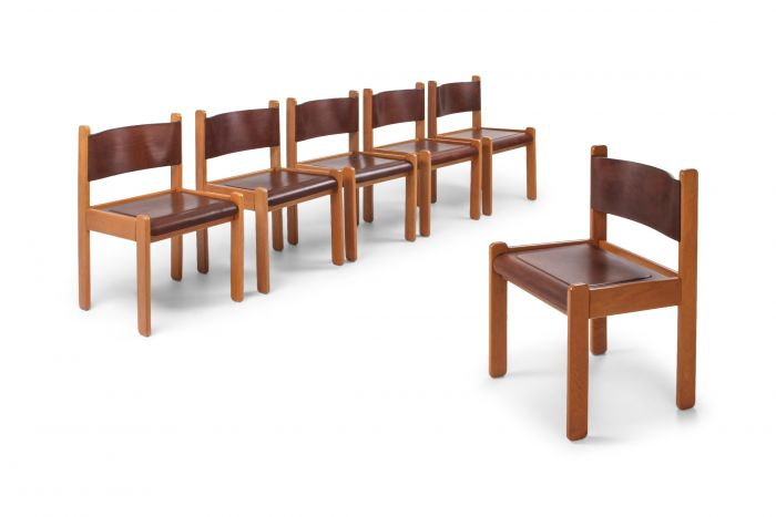 Oak & Leather Dining Chairs - 1960s