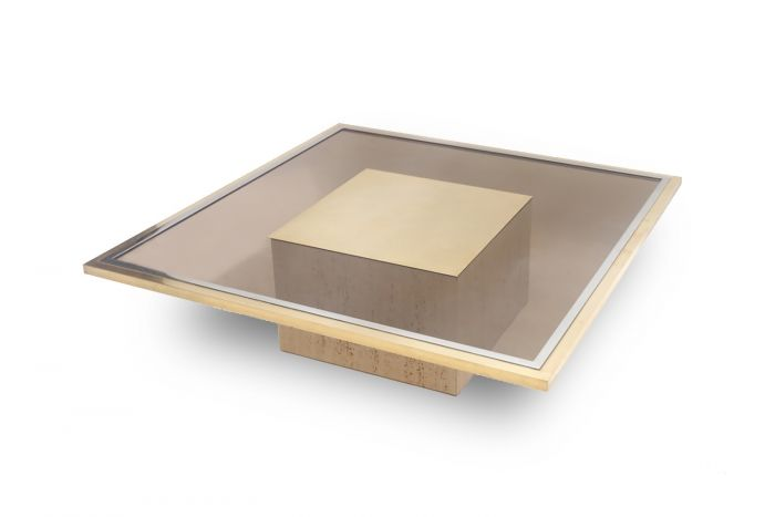 Travertine & Brass Etched Coffee Table, Roger Vanhevel - 1970s