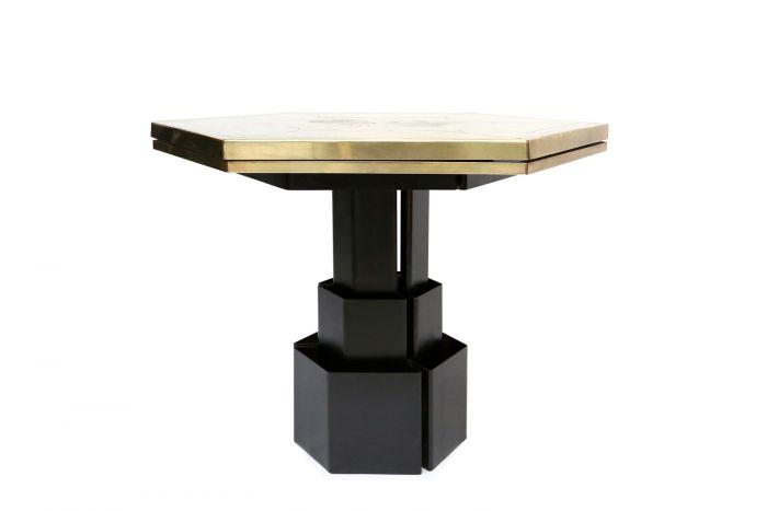 Brass Etched Hexagonal Table, Christian Heckscher - 1980s
