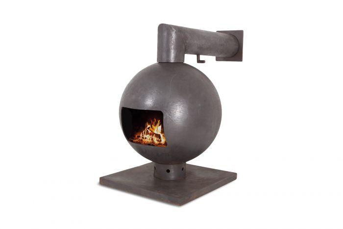 Brutalist Spherical Fireplace by Dries Kreijkamp in Cast Iron - 1960s