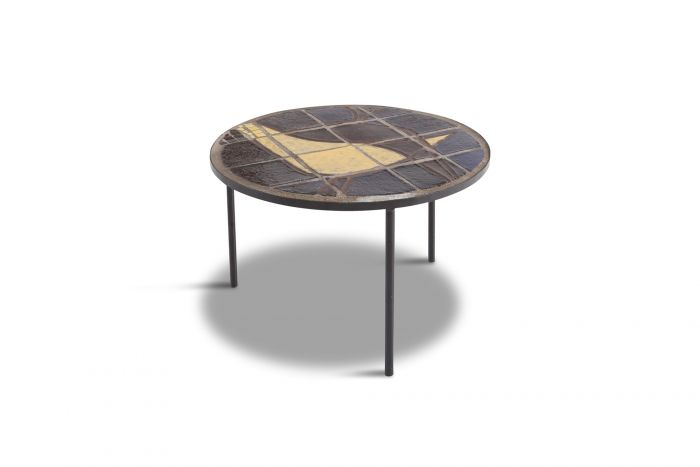 Mid-century Coffee Table with Black Steel Frame & Mosaic Inlay - 1950s
