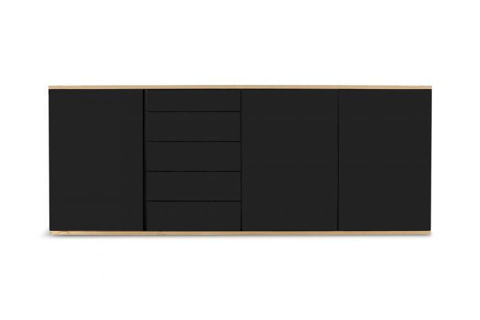 Roche Bobois Black and Brass Lacquered Credenza - 1980s
