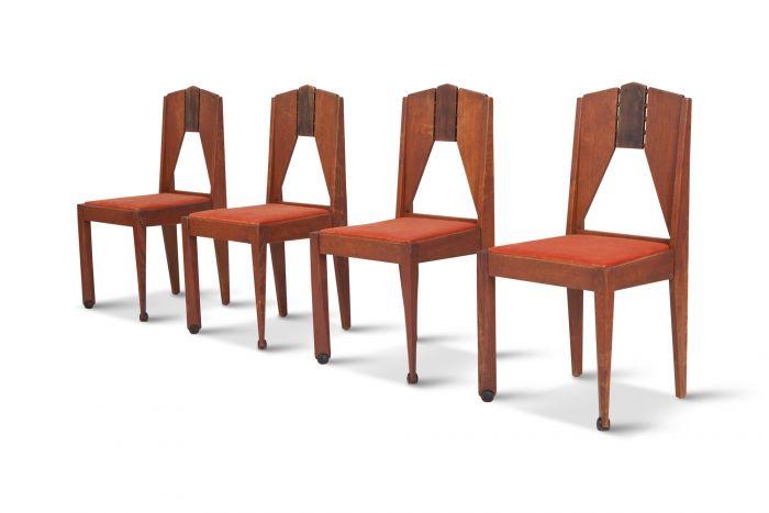 Amsterdamse School Dining Chairs in Skin Velvet - 1930s
