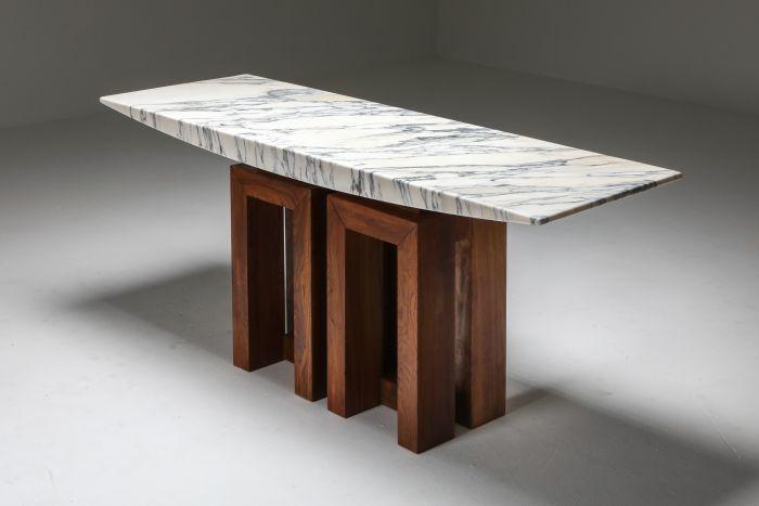Pierluigi Spadolini Console Table in Walnut and Marble - 1965