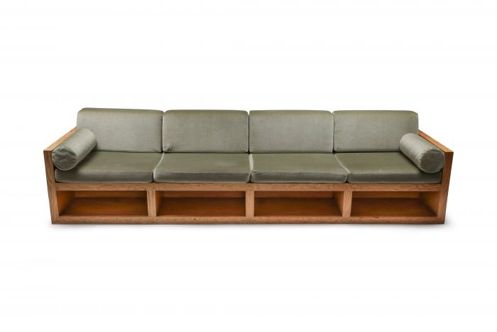Mid-century modern sofa in pitch pine and velvet - 1960's