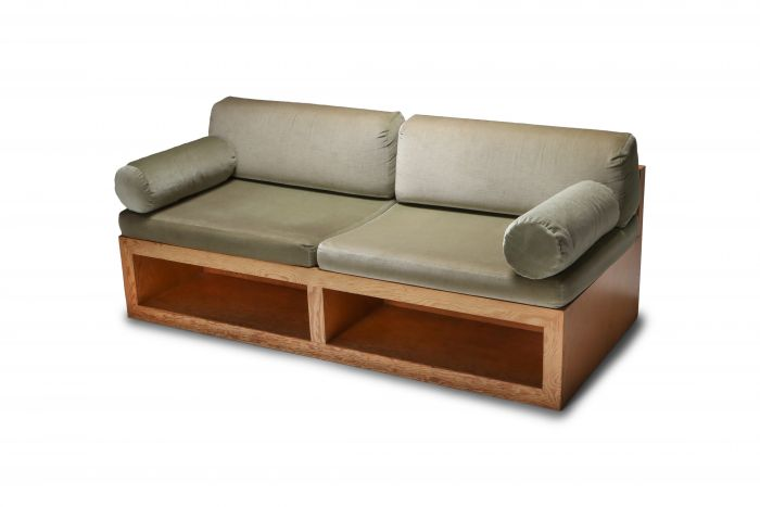 Pitch pine and velvet love seat sofa - 1960's
