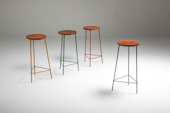 Jeanneret Teak and Iron Stool, Set of Four - 1960's