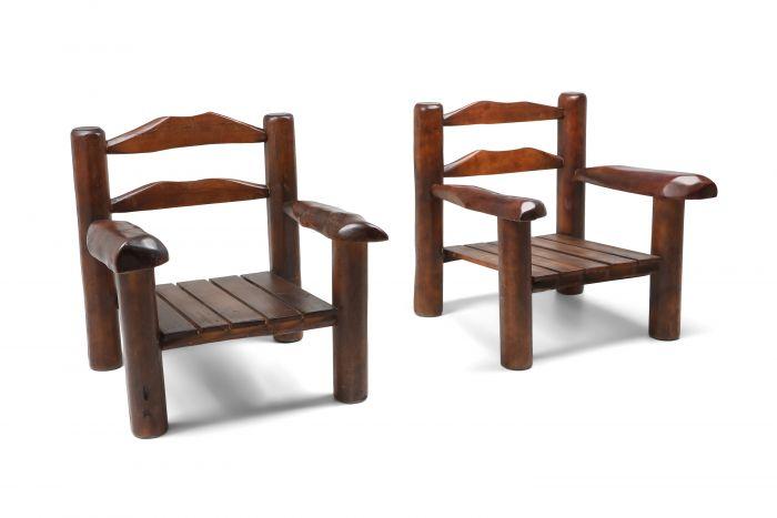 Rustic Wooden Wabi Sabi Lounge Chairs - 1950s