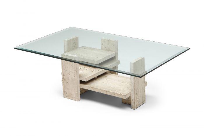 Travertine Postmodern Coffee Table - 1970s