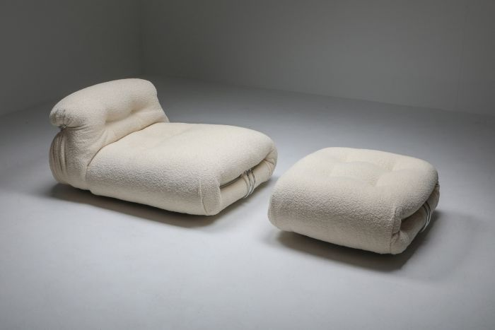 Soriana Lounge chair & Ottoman in Bouclé by Afra & Tobia Scarpa - 1969