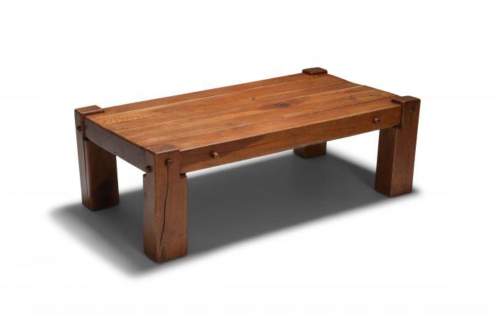 Rustic Modern Coffee Table in Solid Oak - 1960's