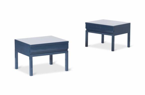 Rare Blue Lacquered Bed Side Tables, Emiel Veranneman - 1980s