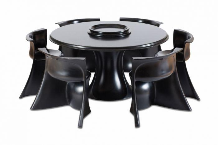 Black Dining Room Set By Pierluigi Spadolini - 1971