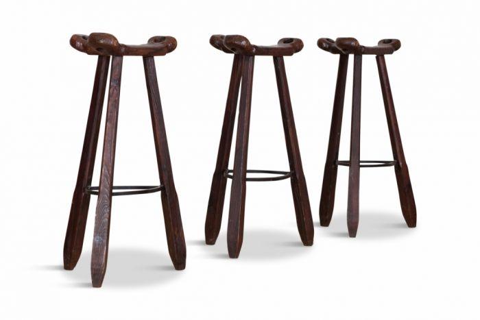 Brutalist Spanish Oak Bar Stools - 1970s