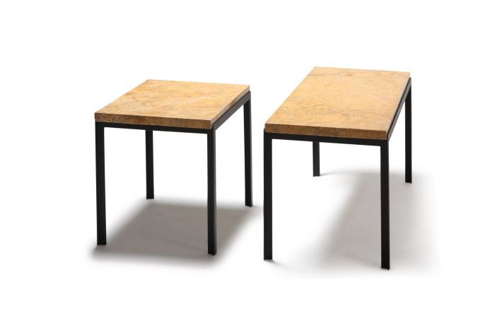 Florence Knoll Marble & Black Steel Side Tables - 1960s