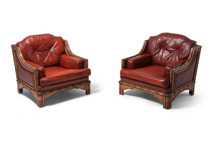 Italian Bamboo and Red Leather Easy Chairs - 1970s