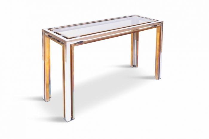 Chrome & Brass Console Table, Romeo Rega - 1970s