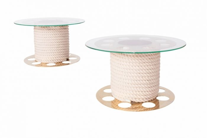 Round Brass And Glass Side Tables, Paco Rabanne - 1980s