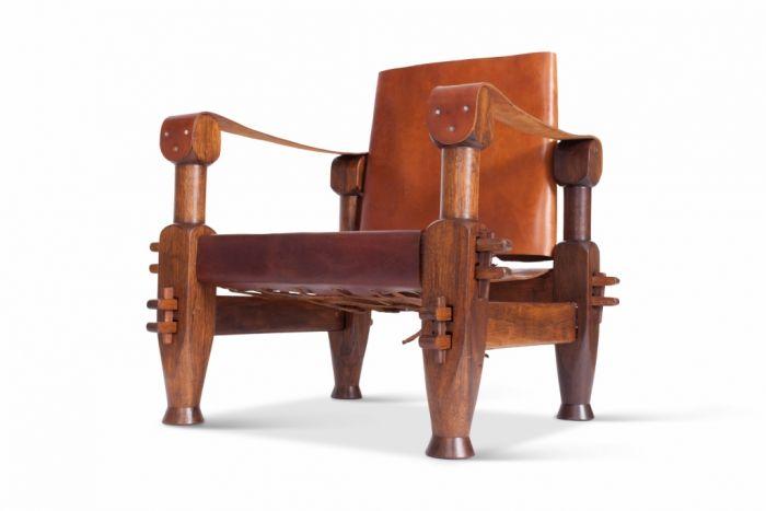 Brutalist Brazilian Leather Armchair - 1960s