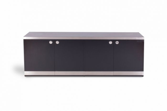 Black And Chrome Credenza, Willy Rizzo - 1970s