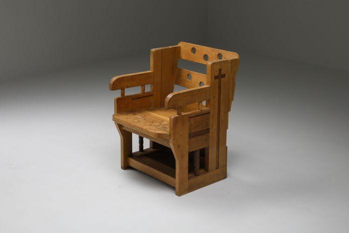 Rustic Modern Armchair In Oak - 1960s