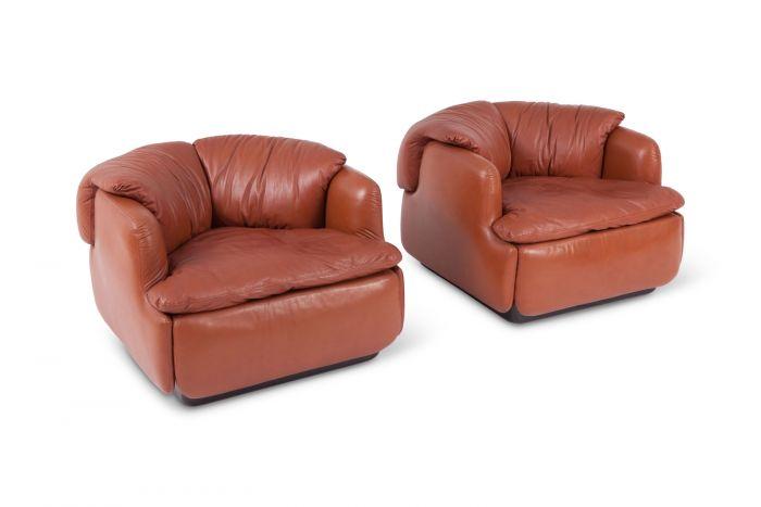 Leather Club Chairs For Saporiti, Alberto Rosselli - 1970s