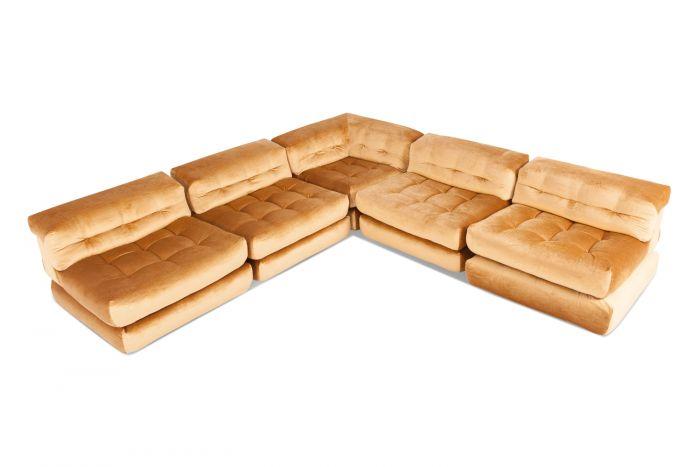 Roche Bobois Mah Jong Modular Sofa In Gold Velvet - 1970s