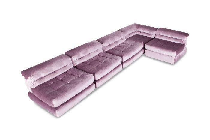Roche Bobois Mah Jong Modular Sofa In Purple Velvet - 1970s