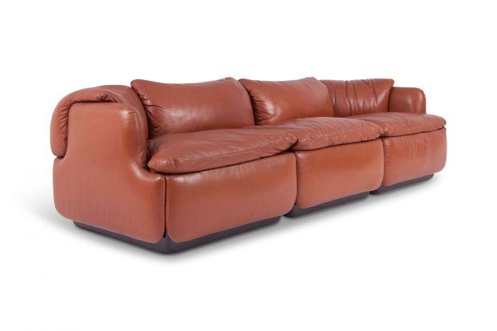 Leather Saporiti Sofa Confidential, Alberto Rosselli - 1970s