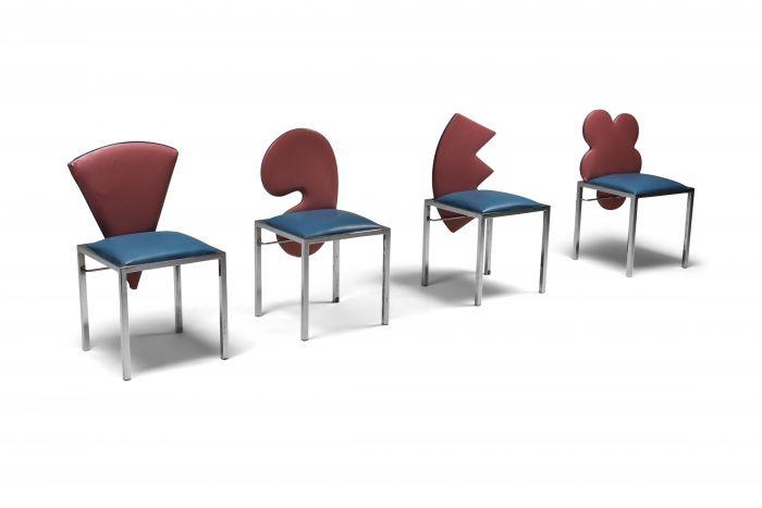 Saporiti set of four chairs Warhol, Malevich, Kandinsky, Fontana - 1980's