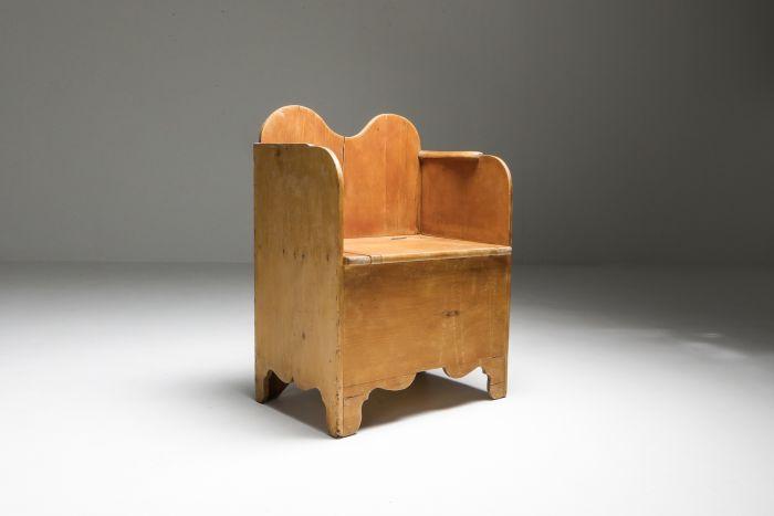 Axel Einar Hjorth style scandinavian primitive modern armchair in pine - 1940s