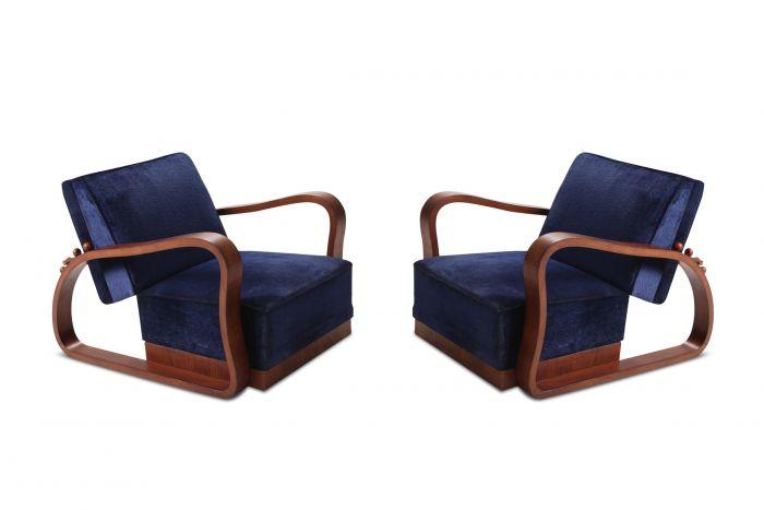 Art Deco Adjustable Lounge Chairs in Blue Velvet Halabala Style - 1930s