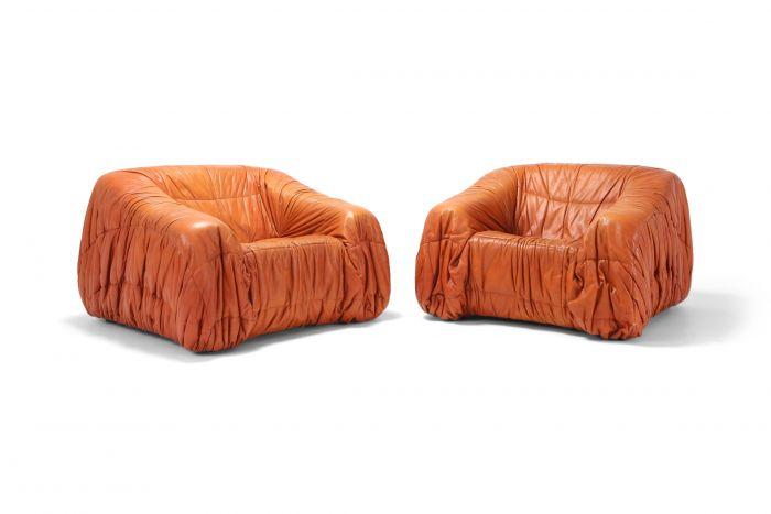 Cognac Leather Postmodern Lounge Chairs by De Pas, D'urbino & Lomazzi - 1970s