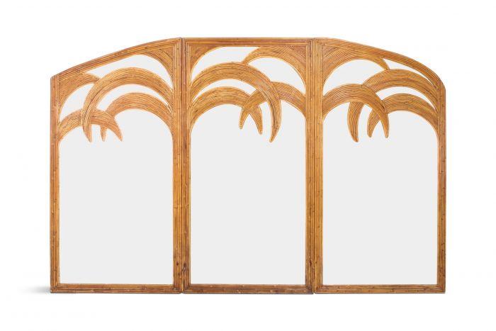 Vivai del Sud Triptych Floor Mirror In Bamboo - 1970s