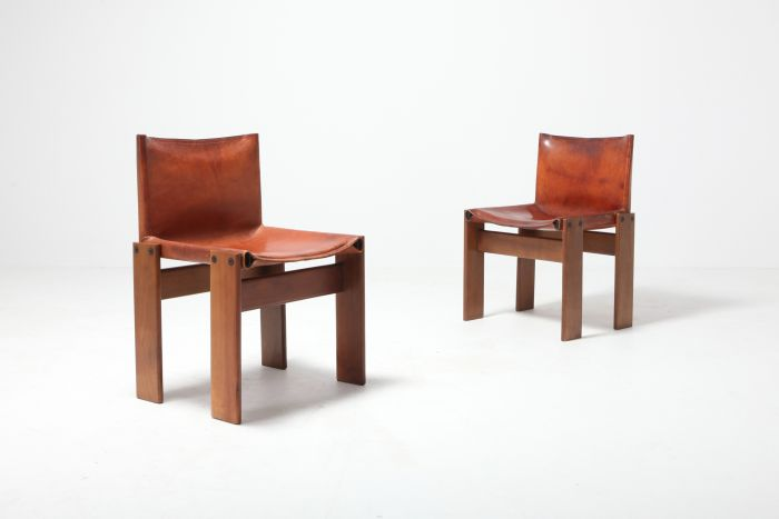Scarpa 'Monk' Chairs in Patinated Cognac Leather, Set of two - 1970s