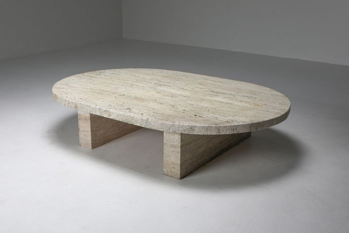 Travertine Oval Coffee Table - 1970's