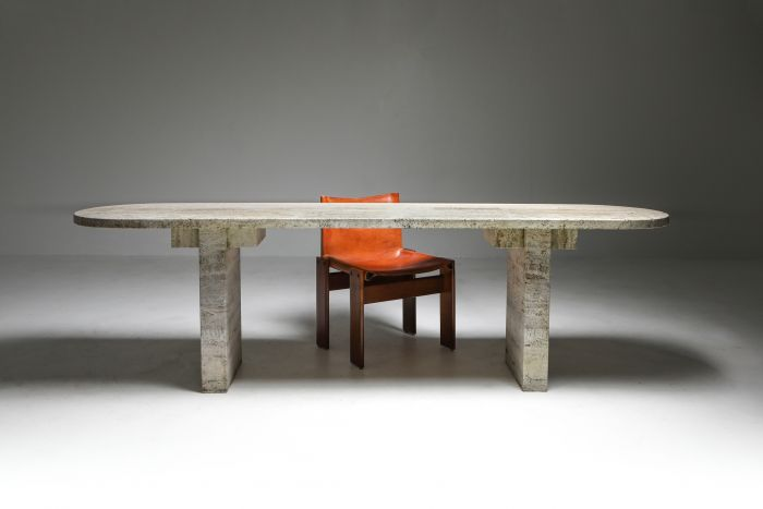 Travertine Oval Table - 1970's
