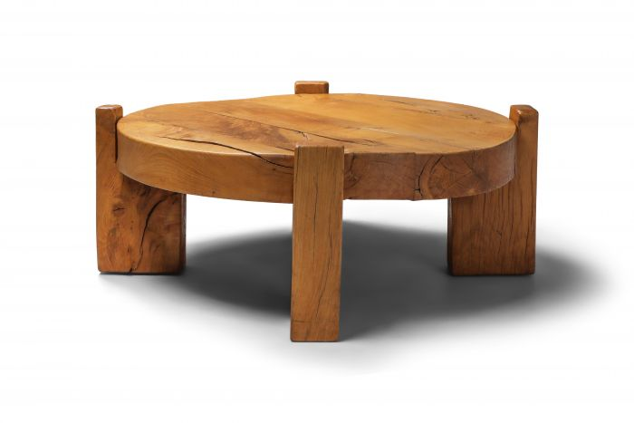Solid Oak Round Coffee Table - 1960s