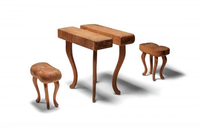 Rustic Wabi Sabi Set Table and Stools - 1940s