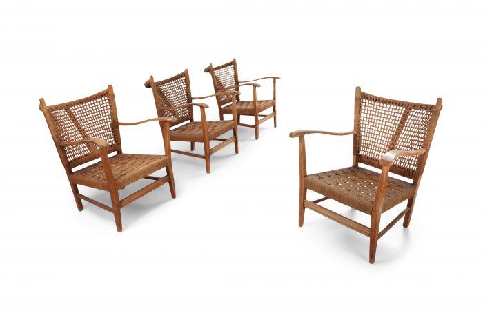 Bas Van Pelt Set of Four Oak and Cord Armchairs - 1950's