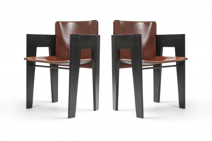 Black Oak and Brown Leather Arco Chairs - 1980's